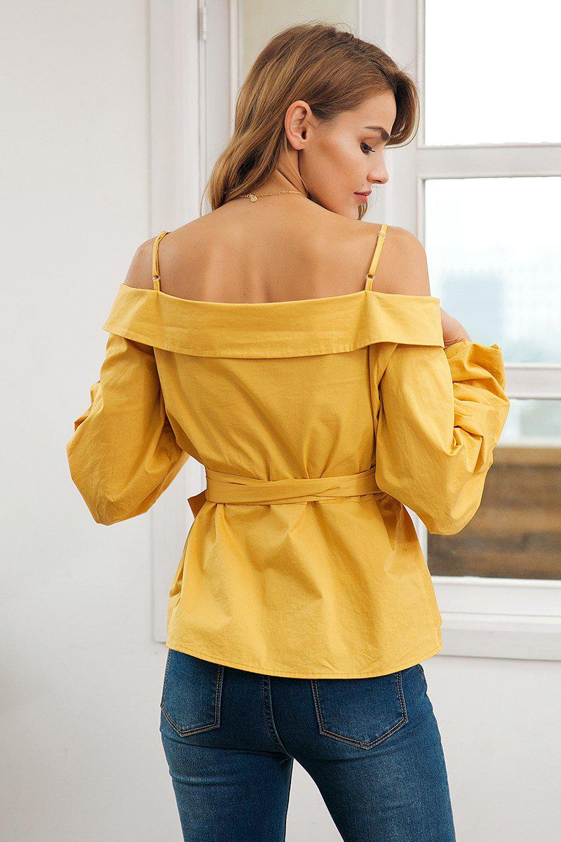 Off shoulder Strap Detail Blouse - Long Cuff Lantern Sleeve Blouse Tops - Woven Trends Fashion Collection