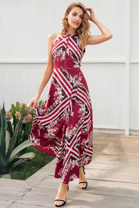 Halterneck Print Material Boho Dress - Maxi Dress Split Side With Elastic Waist Woven Trends