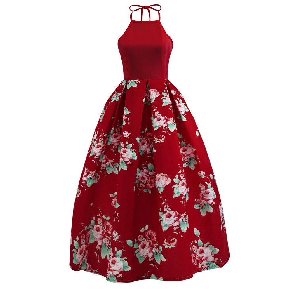 Tie Halter Neck Pleated Floral Print Ball Dress