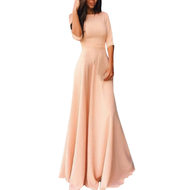 Half Sleeve Floor Length Party Girl Maxi Dress Woven Trends