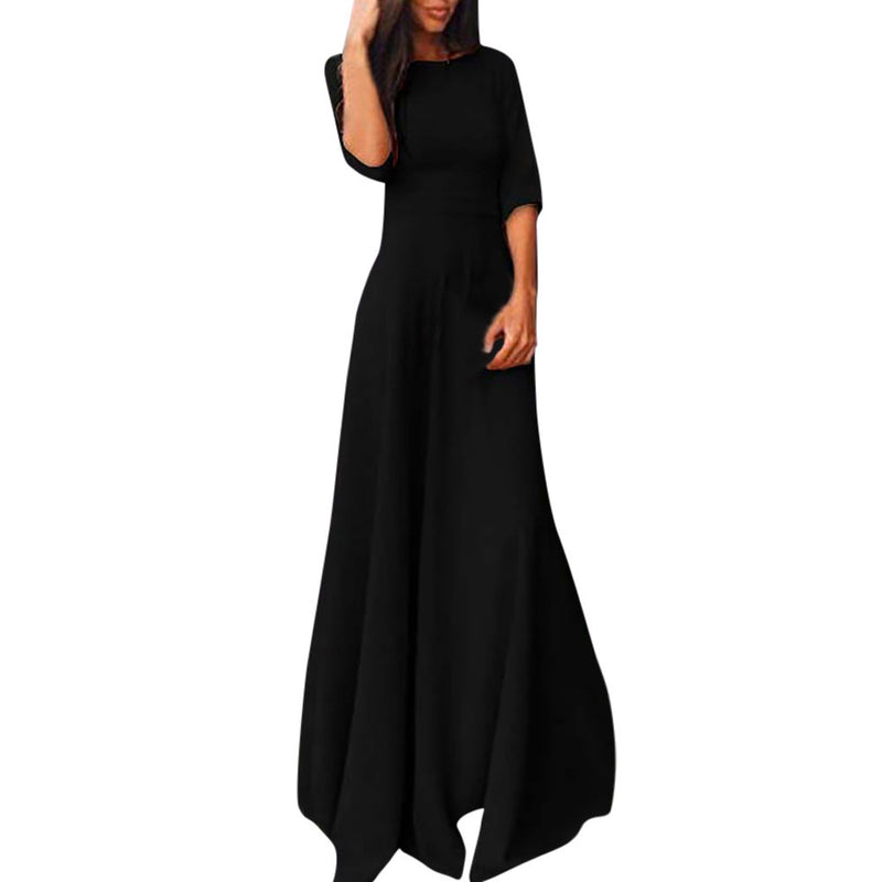 Half Sleeve Floor Length Party Girl Maxi Dress - woven-trends