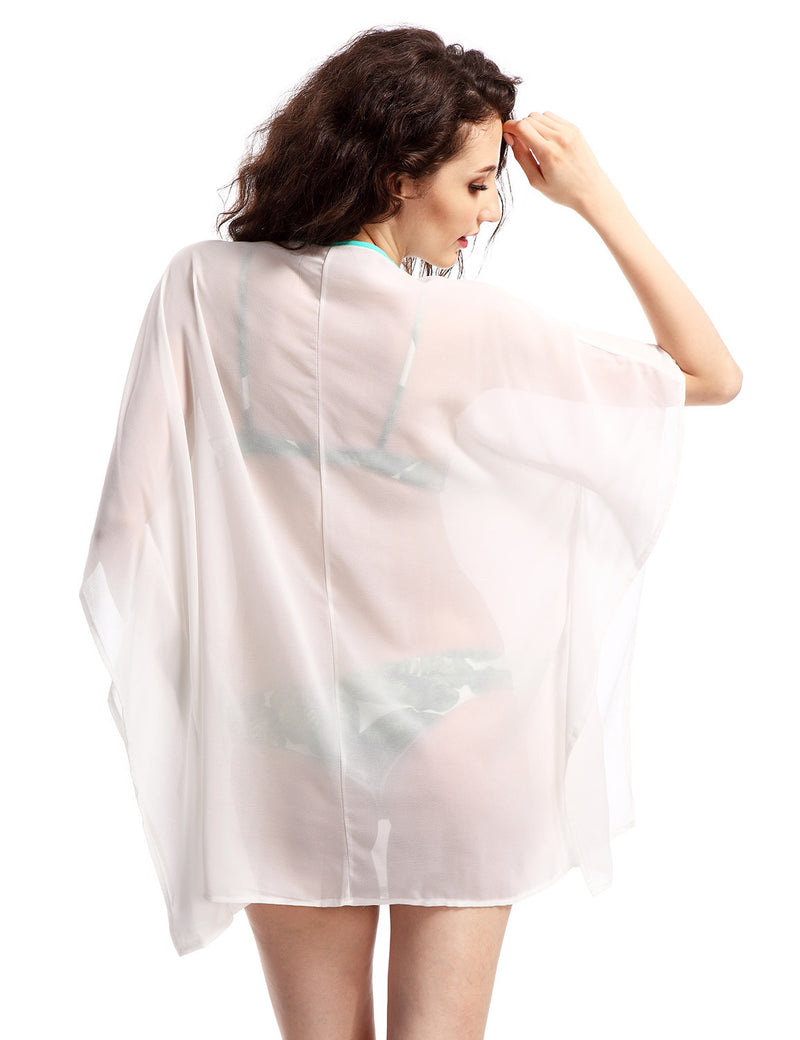 Boho Oversized Chiffon T-Shirt Cover Up With Embroidery Details Woven Trends
