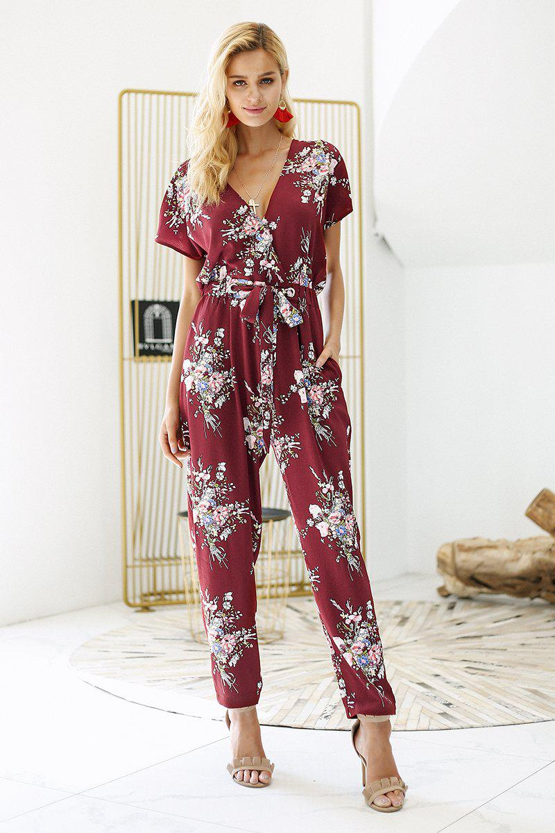 Print V Neck Cut Short Sleeve Jumpsuit - Floral Print Sash Summer Jumpsuit Jumpsuits & Playsuits - Woven Trends Fashion Collection