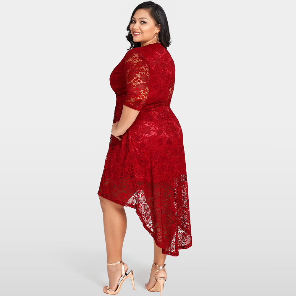 Lace Dress Cross Front Deep Plunge Plus Size Dress - High Cut Low Hem