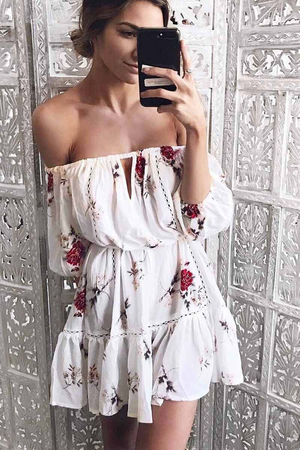 Gemina Off Shoulder Floral Print Mini Sundress