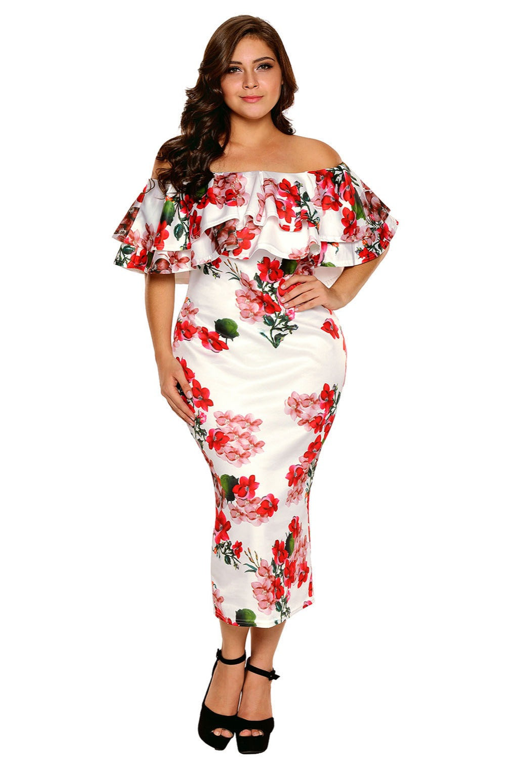 Off Shoulder Summer Ruffle Party Bodycon - Plus Size Fiesta Party Dress Dresses - Woven Trends Fashion Collection