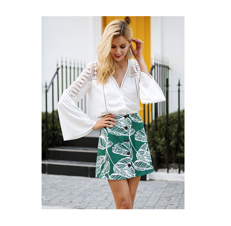 Leaf Print Mini Skirt - Green Front Buttons Skirt Skirts - Woven Trends Fashion Collection
