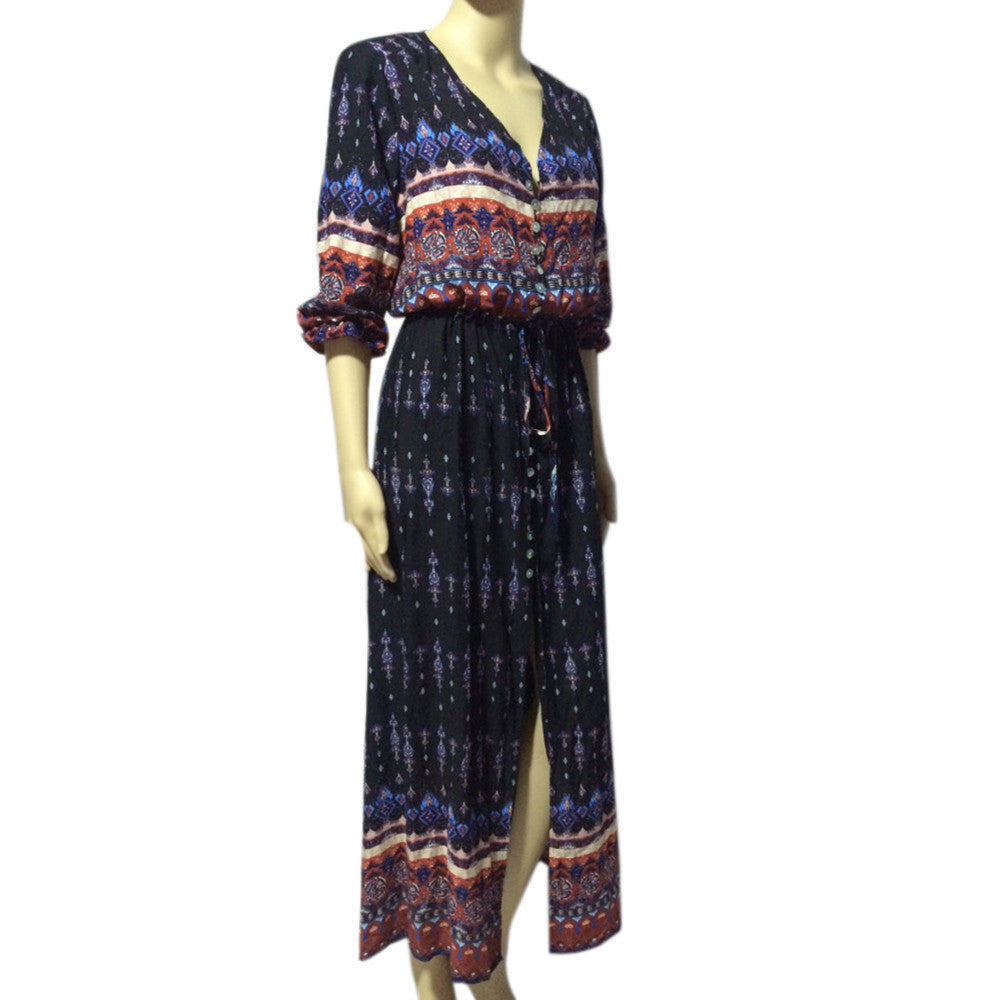 Tracey Bohemian Tunic Floral Maxi Dress