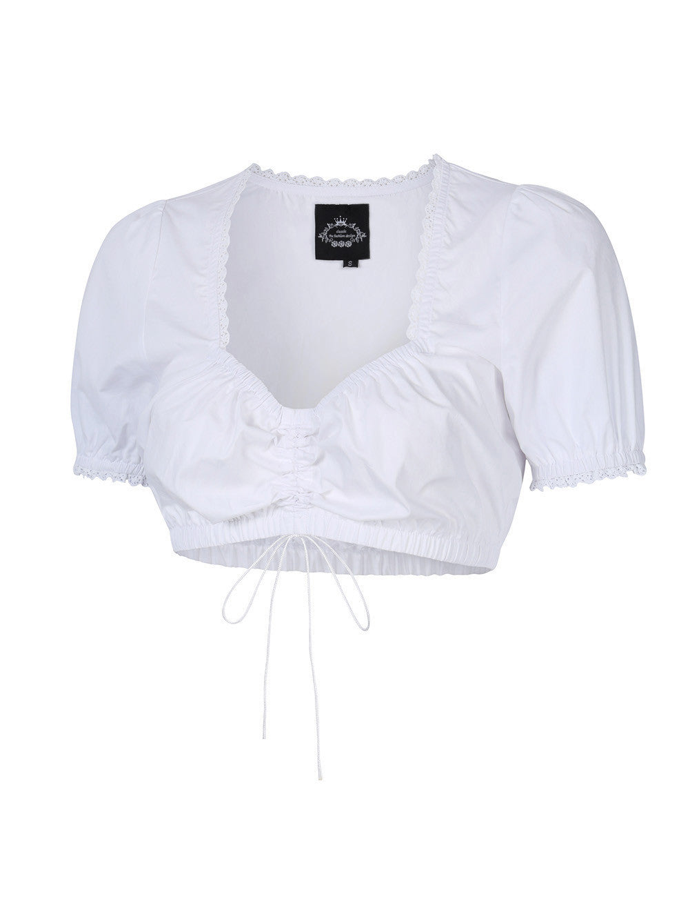 Rosalie Ruched Lace Trim Tube Blouse