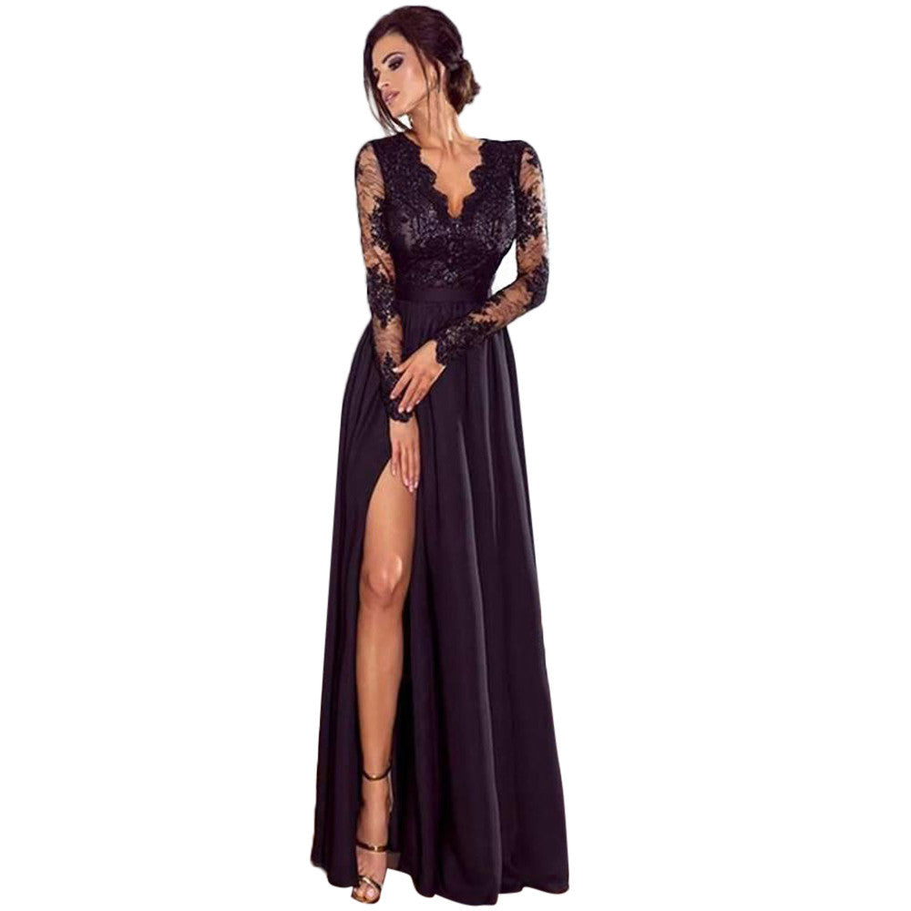 Eloise Deep V Neck Party Prom Ball Long Dress - woven-trends