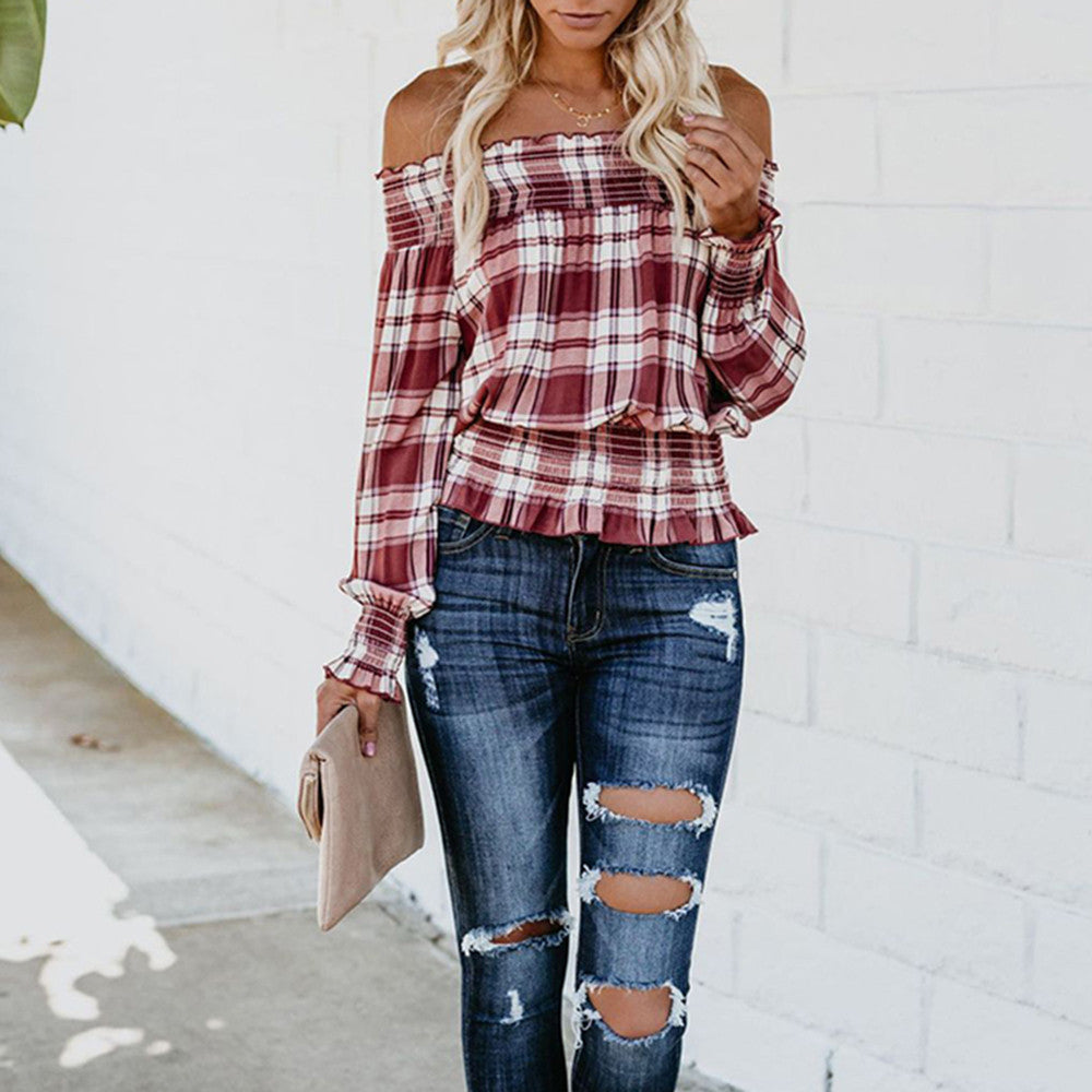 Jemima Sexy Long Sleeve Check Blouse Top