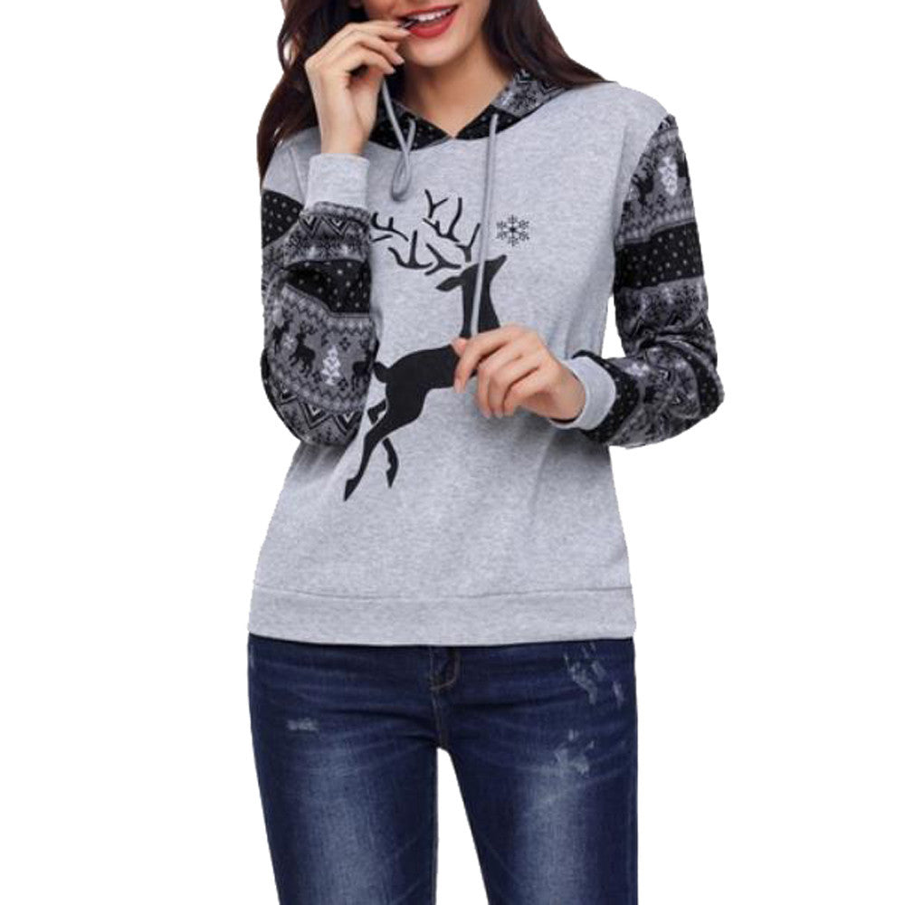 Michelle Deer Printed Sweatshirt Hoodie - woven-trends