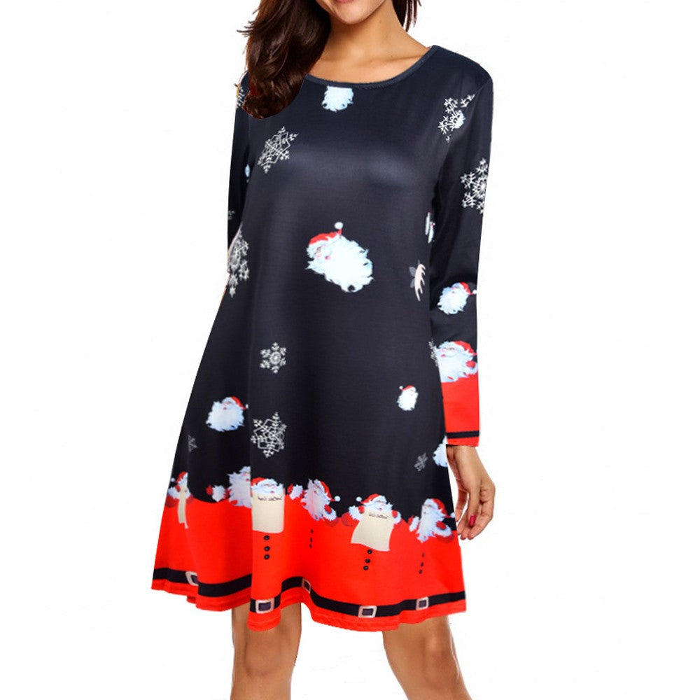 Brooklynn Long Sleeve Christmas Theme Flare Dress - woven-trends
