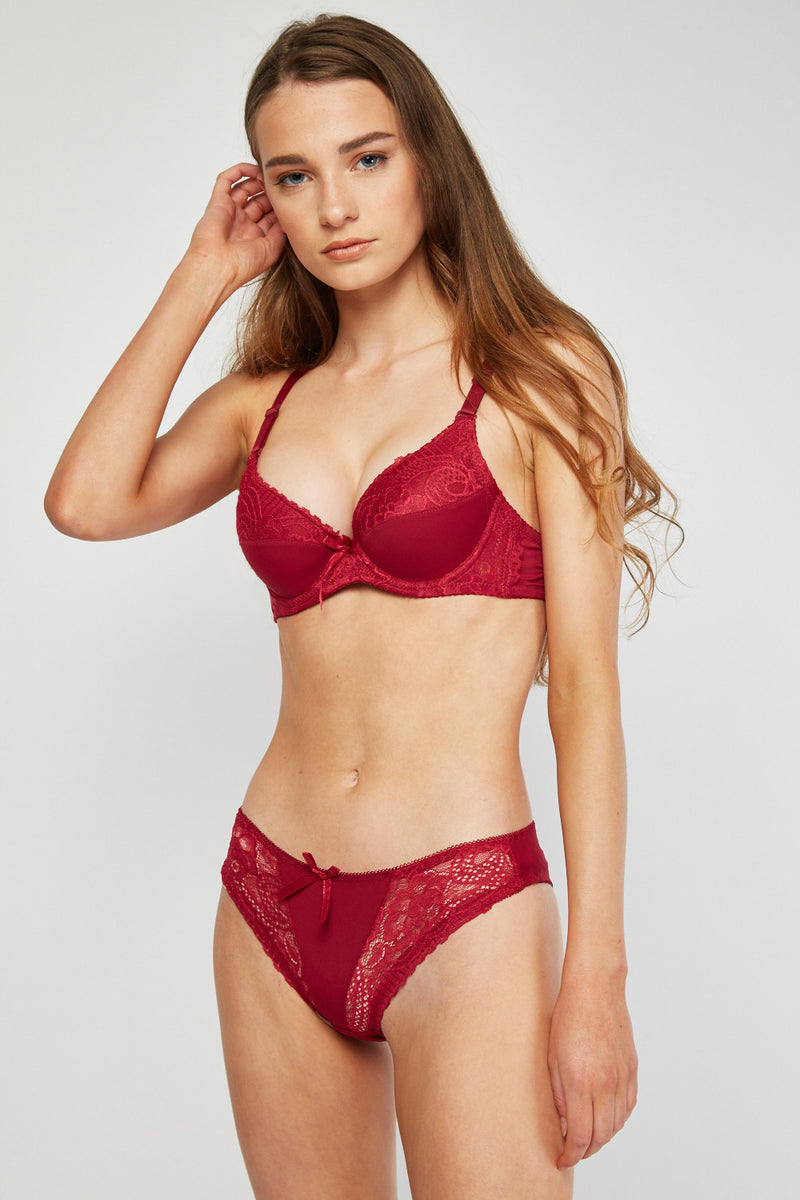 Jennifer Sensual Lingerie Set Push Up Bra And Brief Set - Woven Trends