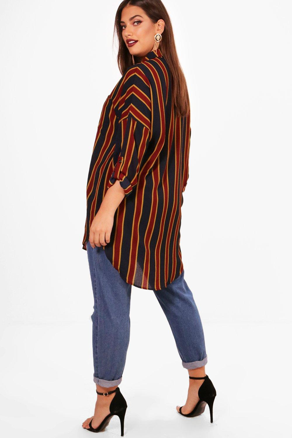 Plus Alexis Striped Oversized Shirt Tops - Woven Trends Fashion Collection
