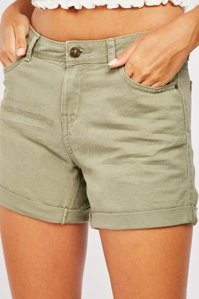 Susan Hemmed Up Cotton Shorts-Woven Trends