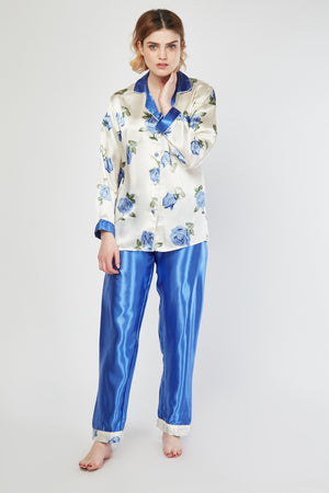 Kaila Blue Contrast Rose Printed Sateen Pyjama Set - Woven Trends