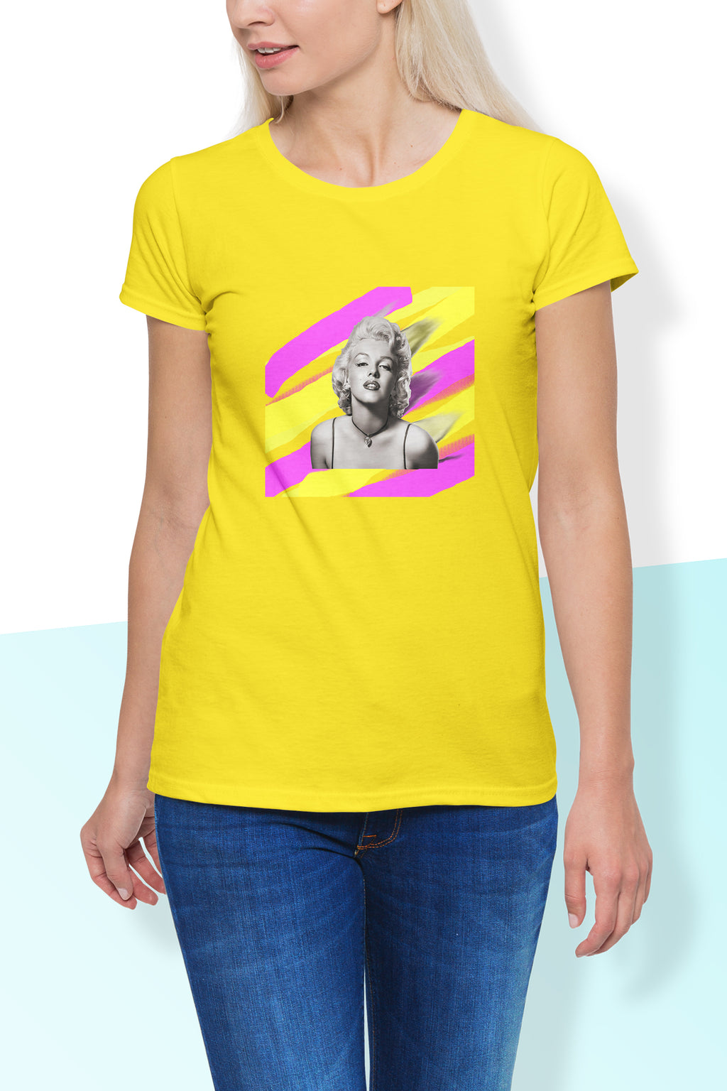 Marilyn Monroe Smudge Print Round Neck T-Shirt - woven-trends