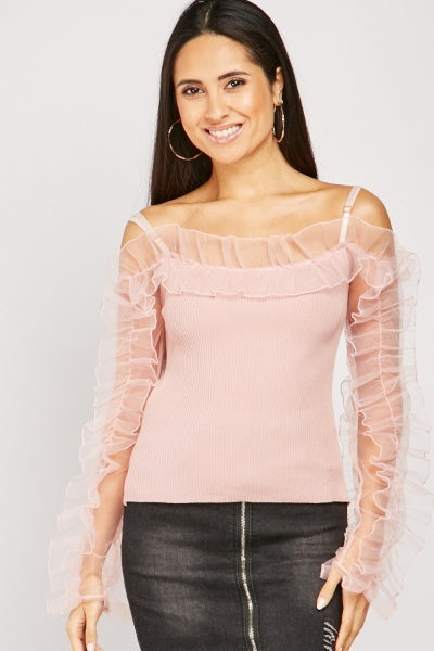 Getty Organza Rib Top With Ruched Sleeves-Woven Trends