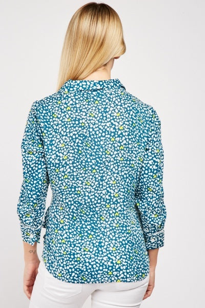 Yemi Speck Heart All Over Print Cotton Wrap Blouse Top
