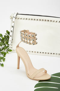 Stephanie Stud Design Cut Out Ankle Heel Sandals - Woven Trends