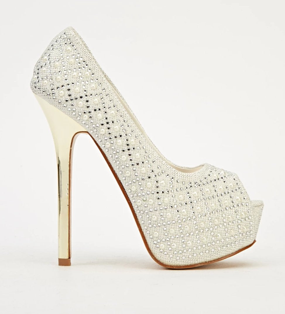 Gemina Peep Toe High Heels - Woven Trends