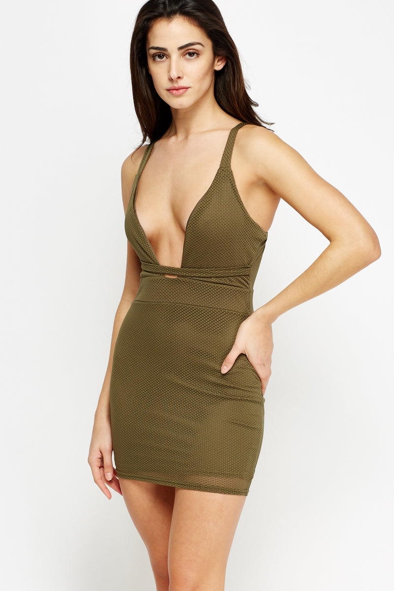 Angelina Textured Petite Mini Plunge Dress - Woven Trends