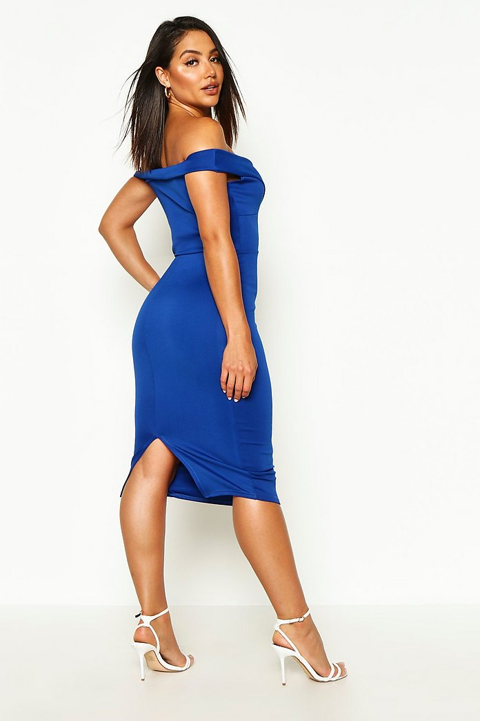 Harper Off Shoulder Bodycon Midi Dress-Woven Trends