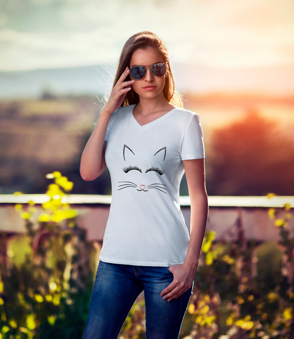 Crystal Cute Cat Print V Neck T Shirt - woven-trends