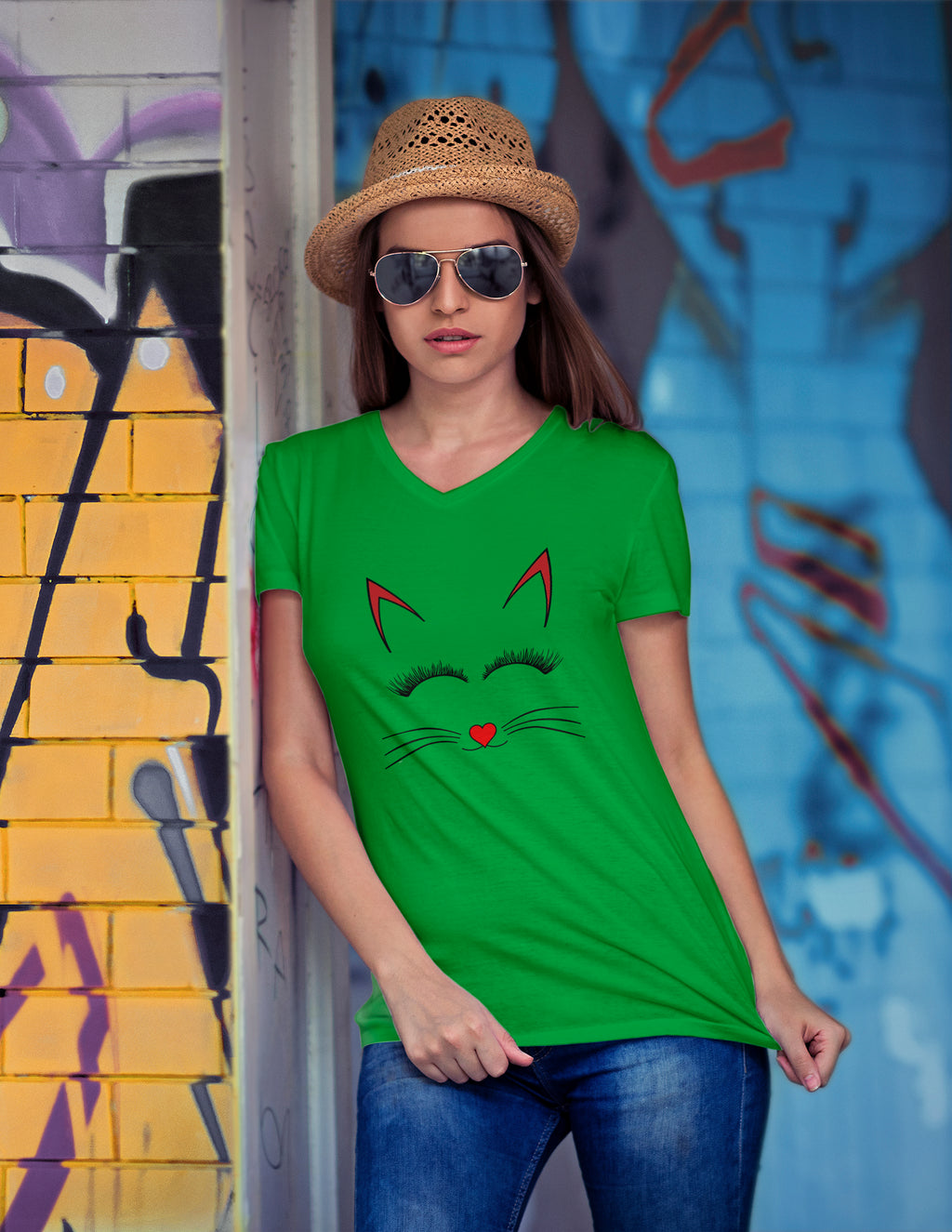 Tessa Cute Cat Print V Neck T-Shirt - Woven Trends