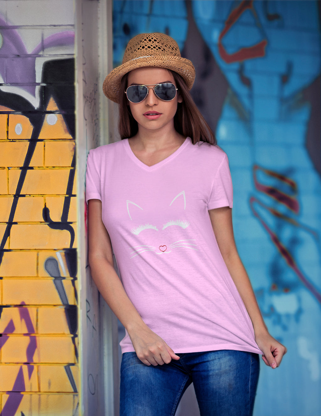 Katie Cute Cat Print V Neck T Shirt - woven-trends