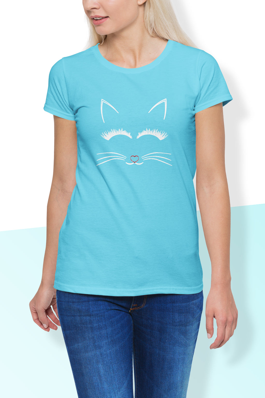 Katie Cute Cat Print Round Neck T Shirt - woven-trends