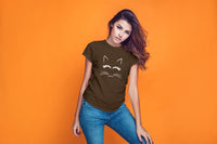 Katie Cute Cat Print Round Neck T Shirt - Woven Trends
