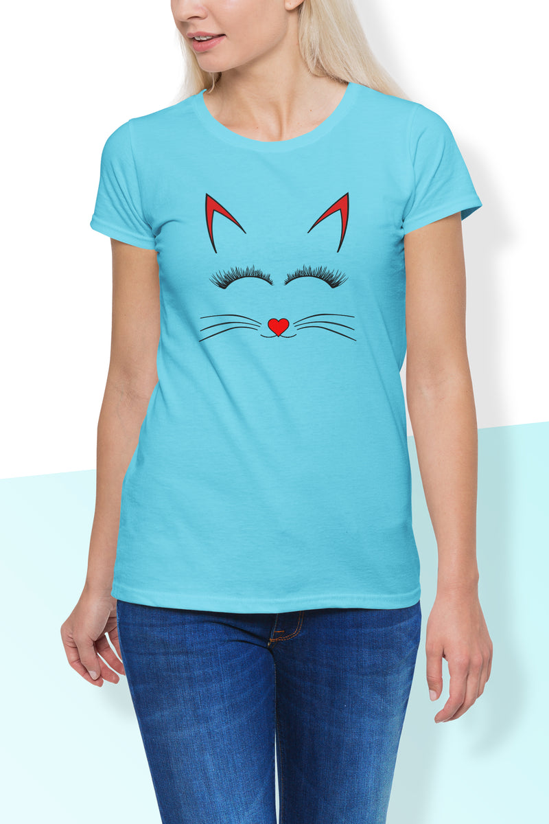 Persis Cute Cat Print Round Neck T Shirt - Woven Trends