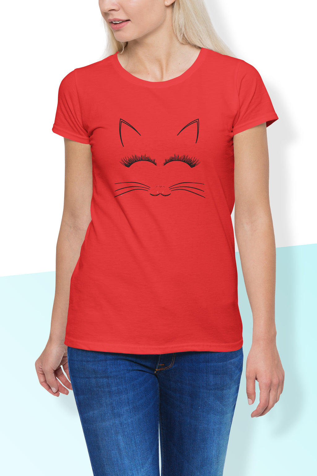 Crystal Cute Cat Print Round Neck T Shirt - woven-trends