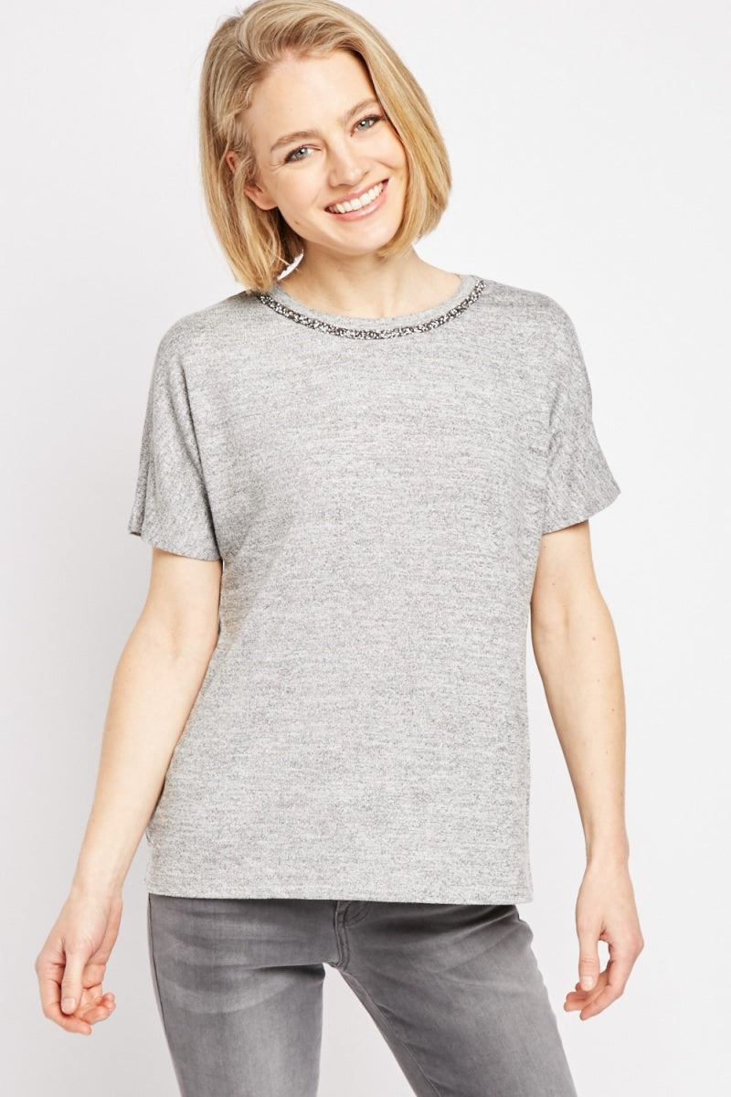 Catherine Encrusted Neckline Simple Tee Top-Woven Trends