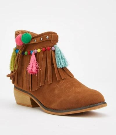 Tatiana Pom-Pom and Tassel Detail Suede Chelsea Boots-Woven Trends