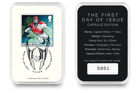 First Day of Issue Capsule Edition - Captain Britain Stamp - Collectology