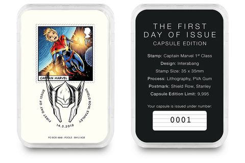 First Day of Issue Capsule Edition - Captain Marvel Stamp - Collectology