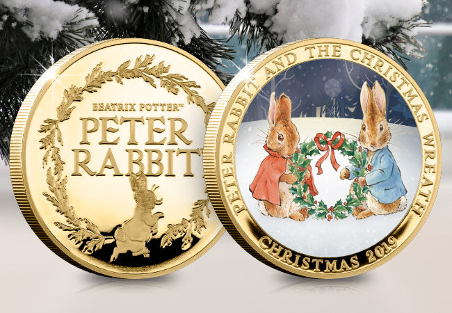 Peter Rabbit and the Christmas Wreath Gold-plated Medal