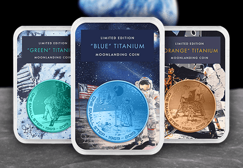 The Coloured Titanium Moon landing Coin Set - Collectology