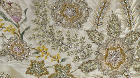 Embroidery detail from the Queen's dress
