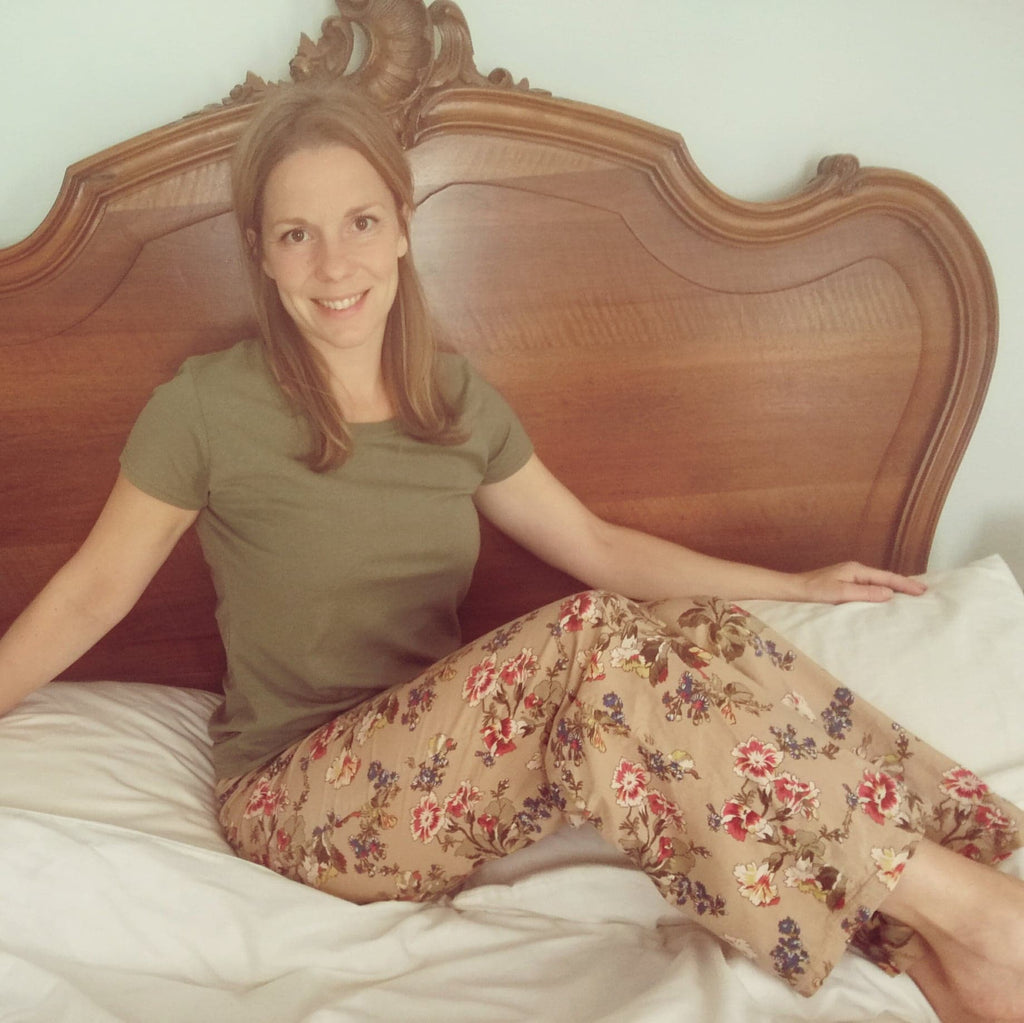 Olive/brown floral pyjamas