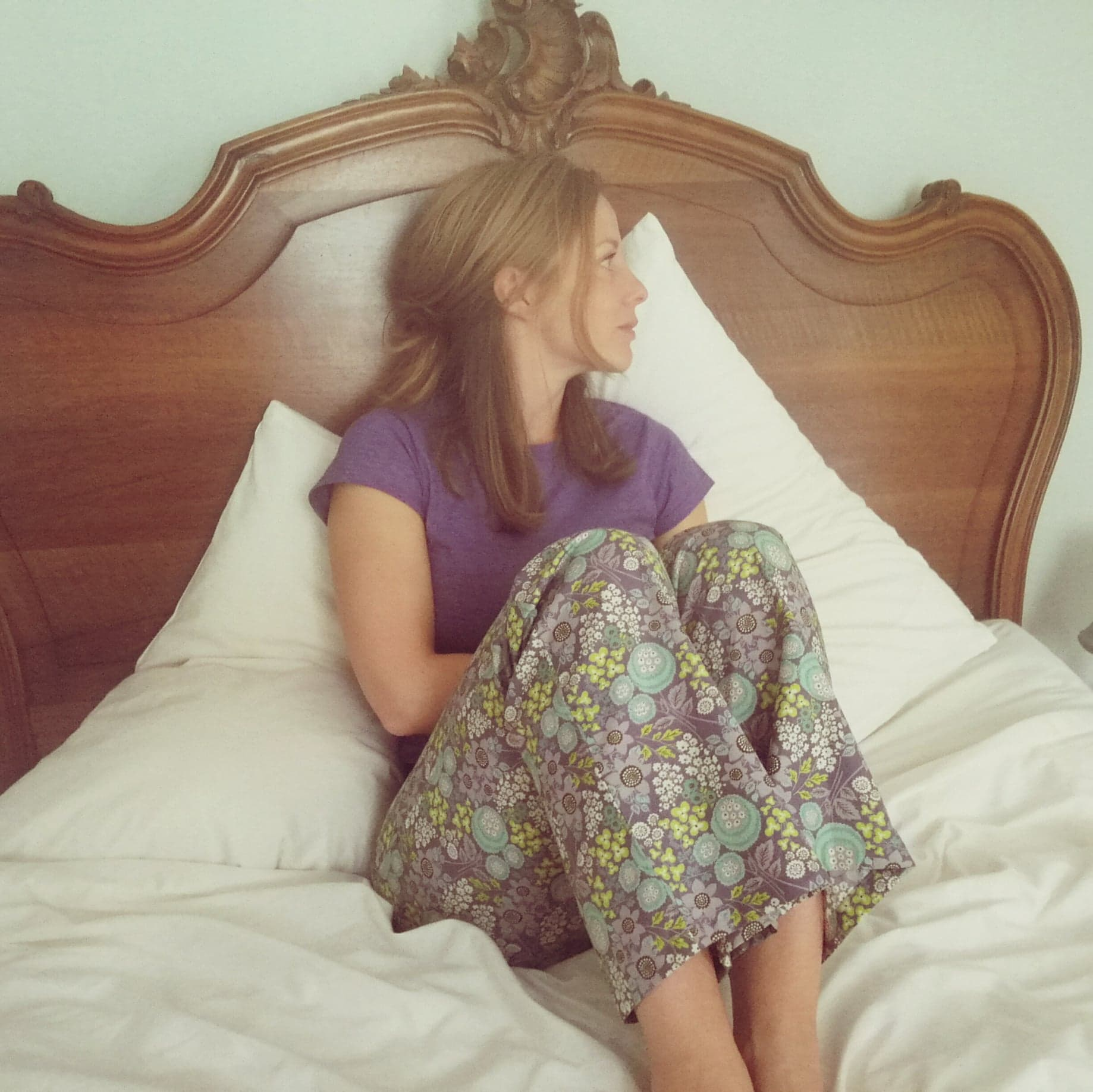 Mauve floral cotton pyjamas