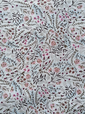 Floral white/pink cotton