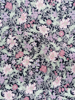 Floral pink/navy cotton