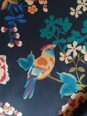 Black Cotton Fabric With Bright Coloured Flowers And Birds, By The Metre