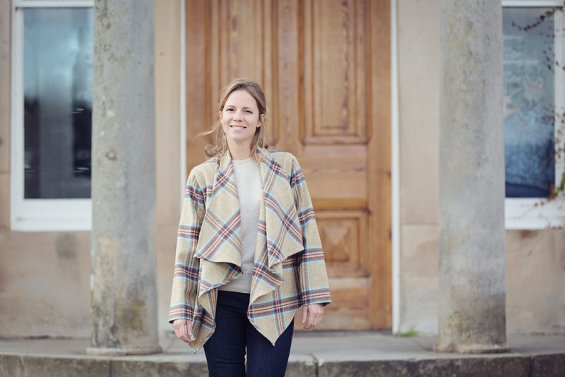 Beige plaid waterfall jacket