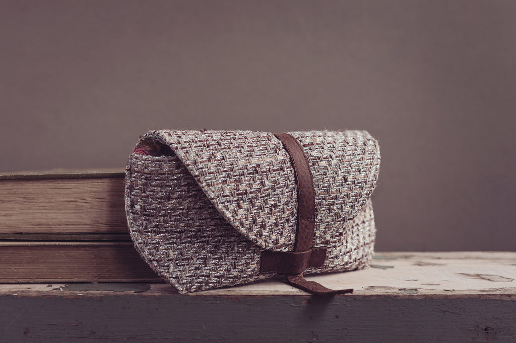 Tweed/Leather Glasses Case