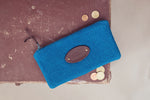 Blue wool purse